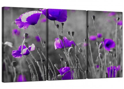 Modern Purple Poppy Grey Black White Flower Floral Canvas - 3 Set - 125cm - 3136