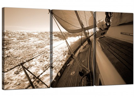 Sepia Brown Yacht Sailing Boat Ocean Landscape Canvas - 3 Set - 125cm - 3106