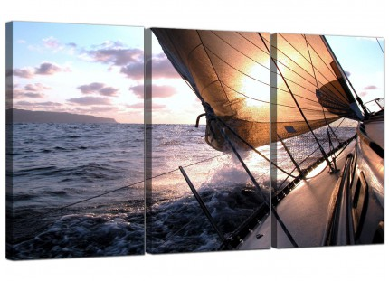 Sailing Yacht Boat Blue Ocean Sunset Landscape Canvas - 3 Part - 125cm - 3096