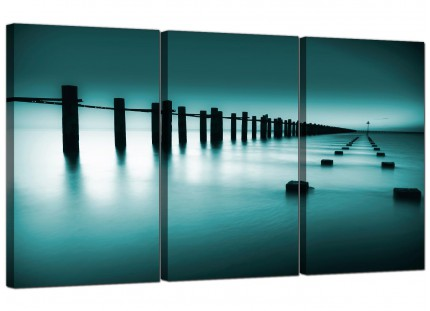 Modern Teal Coloured Beach Scene Landscape Canvas - Set of 3 - 125cm - 3089
