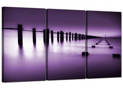 Modern Purple White Beach Scene Landscape Canvas - Set of 3 - 125cm - 3086