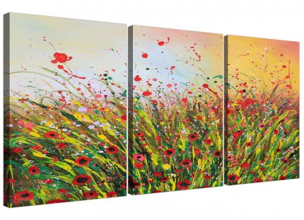 Modern Abstract Summertime Flowers Red Floral Canvas - 3 Part - 125cm - 3262