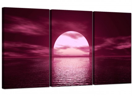 Modern Plum Coloured Sunset Sea Landscape Canvas - Set of 3 - 125cm - 3004