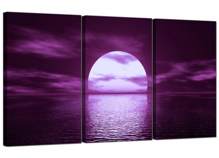 Modern Purple Sunset Ocean Sky Landscape Canvas - Set of 3 - 125cm - 3002