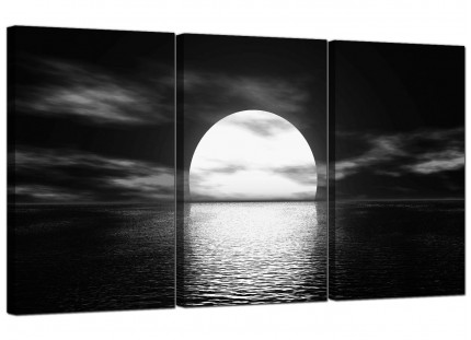 Modern Black White Sea Sunset Ocean Landscape Canvas - 3 Piece - 125cm - 3003
