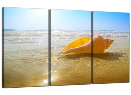 Modern Yellow Blue Shells Landscape Bathroom Beach Canvas - 3 Set - 125cm - 3148