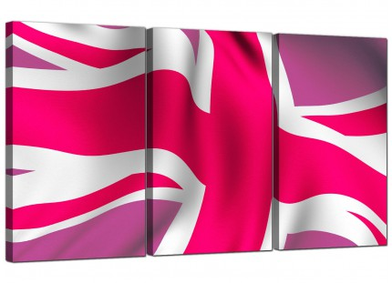 Modern Pink White Union Jack Flag Abstract Canvas - Set of 3 - 125cm - 3012