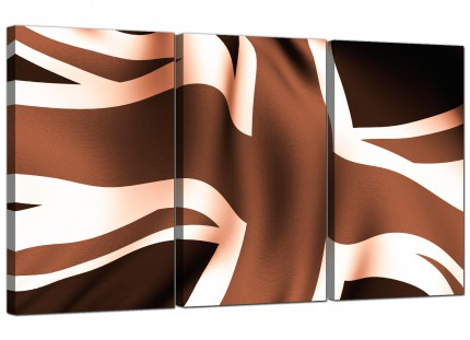 Modern Brown and Cream Union Jack Flag Abstract Canvas - 3 Panel - 125cm - 3011
