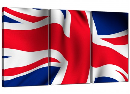 Modern Red White Blue Union Jack Flag Abstract Canvas - 3 Piece - 125cm - 3008