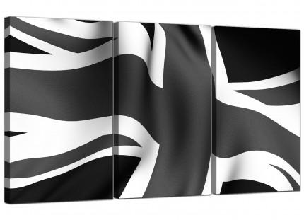 Modern Black White Grey Union Jack Flag Abstract Canvas - 3 Set - 125cm - 3019