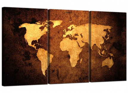 Modern Vintage Old World Map - Brown Cream Canvas - Set of 3 - 125cm - 3188