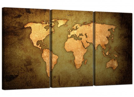 Modern Vintage Old World Map - Green Gold Canvas - Set of 3 - 125cm - 3189