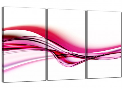 Modern Pink and White Wave Abstract Canvas - Set of 3 - 125cm - 3030