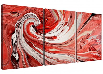 Modern Red Black White Swirls Abstract Canvas - Set of 3 - 125cm - 3265