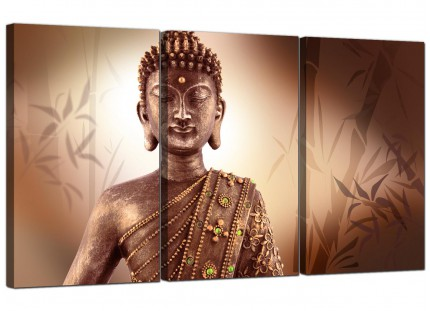 Modern Abstract Buddha Face Brown Zen Canvas - 3 Piece - 125cm - 3101