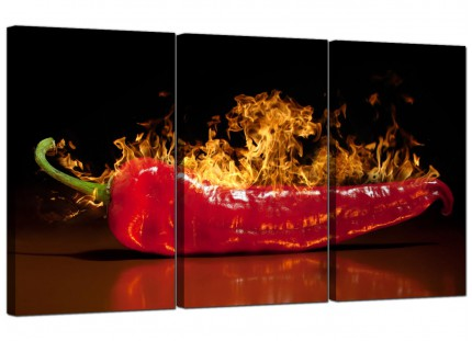 Modern Red Hot Chilli Pepper Flaming Black Kitchen Canvas - 3 Set - 125cm - 3132