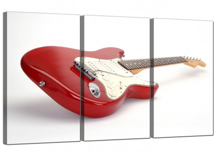 Modern Red White Fender Electric Guitar Music Canvas - 3 Set - 125cm - 3007