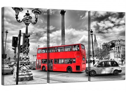 Modern Red London Bus - Street Scene City Canvas - Set of 3 - 125cm - 3210