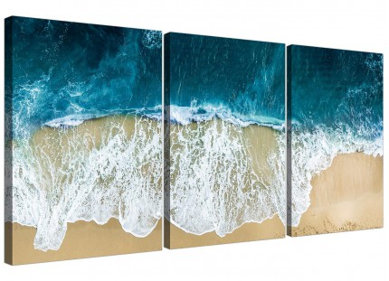 Modern Panoramic Ocean Beach Scene Australia Beach Canvas - 3 Set - 125cm - 3244
