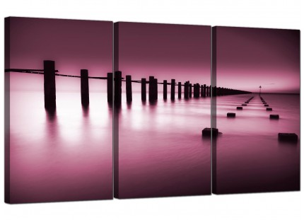 Modern Plum Coloured Beach Scene Landscape Canvas - 3 Piece - 125cm - 3087