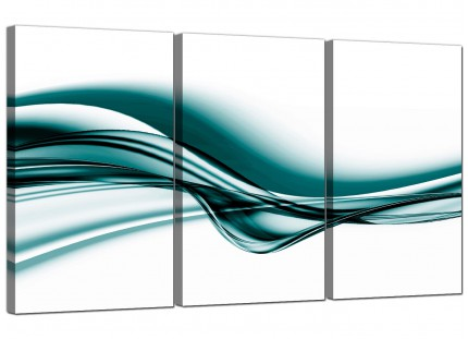 Modern Teal Coloured White Wave Abstract Canvas - 3 Piece - 125cm - 3033