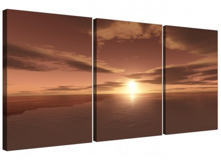 Brown Ocean Sunrise - Seascape Multi Canvas Set of 3 Wall Art - 125cm Wide