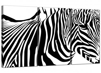 Modern Black White Abstract Zebra Stripes Canvas - Set of 3 - 125cm - 3022
