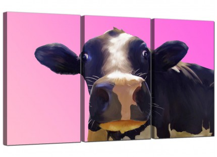 Modern Colourful Funky Cow Pink Pop Art Canvas - 3 Piece - 125cm - 3151