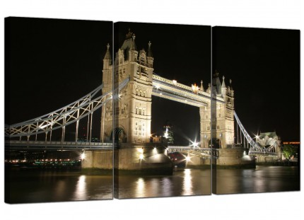 Black and White Tower Bridge London Cityscape Canvas - 3 Set - 125cm - 3023