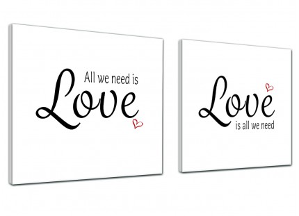 Canvas Prints All we Need is Love Word Art - Word Art - 2s477s - 2 x 49cm Square Wall Art