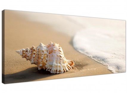 Large Sea Shells Shore Bathroom Cream Beige Beach Canvas Art - 120cm - 1146