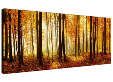 Large Orange Autumn Forest Scene Woodland Trees Modern Canvas Art - 120cm - 1243
