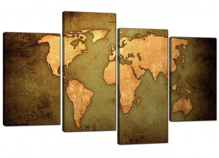 Vintage Old World Map - Green Gold Canvas - Split 4 Part - 130cm - 4189