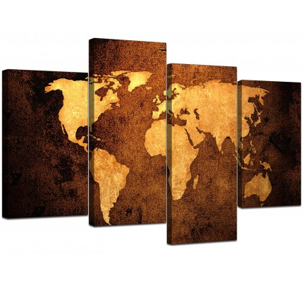 Brown canvas pictures prints sepia wall art free delivery world map canvas art in antique style for office gumiabroncs Image collections