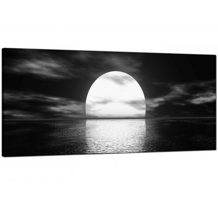 Large black white sea sunset ocean landscape modern canvas art 120cm 1003