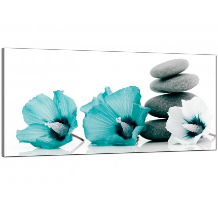 Teal living room extra large canvas of flowers