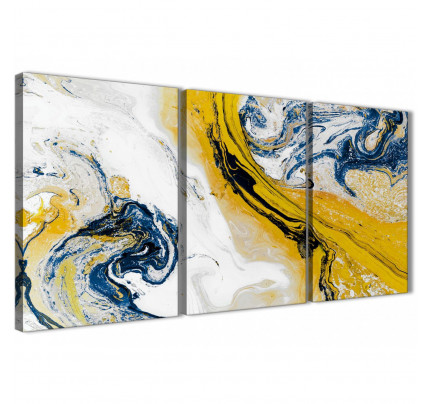 77f1c6ead88 Mustard Yellow and Blue Swirl Living Room Canvas Pictures Accessories -  Abstract Print