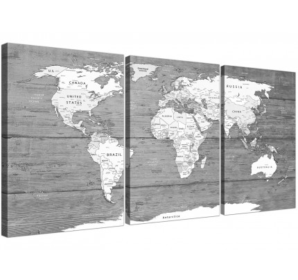 Large black white map of world atlas canvas wall art print multi set of 3 3315