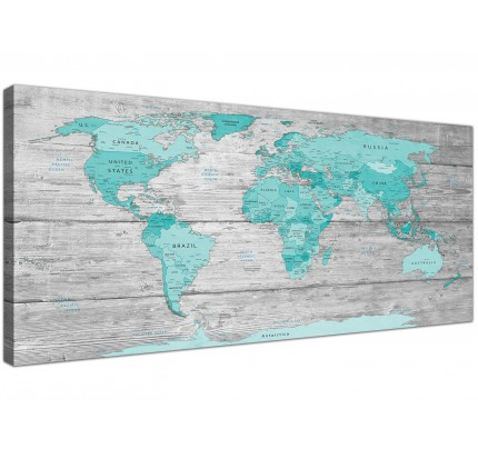 Wall art canvas pictures for modern homes wallfillers large teal grey map of world atlas canvas wall art print 120cm wide 1299 gumiabroncs Image collections